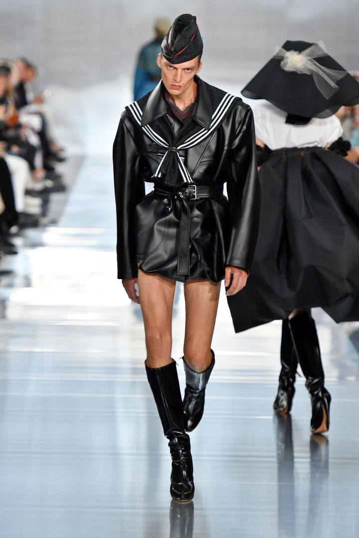 Model Leon Dame walks the runway during the Maison Margiela Ready to Wear Spring/Summer 2020 fashion show as part of Paris Fa