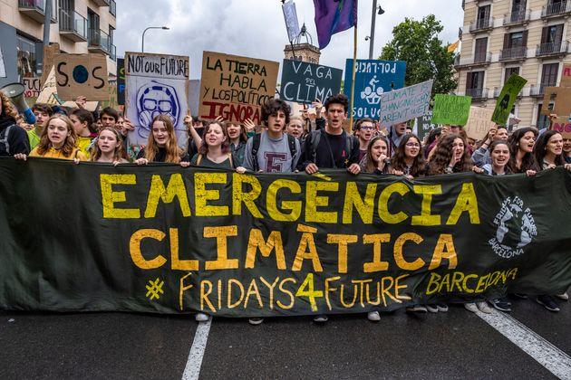 Imagen de archivo de una protesta de estudiantes en Barcelona en el marco del movimiento 'Fridays for