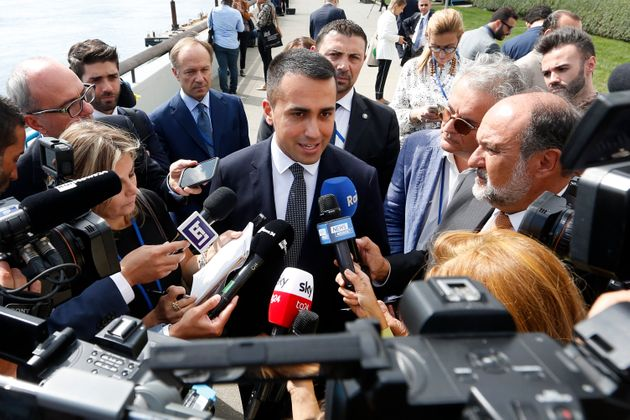 Italy's Deputy Prime Minister Luigi Di Maio speaks to the press on the sidelines of the 74th session...