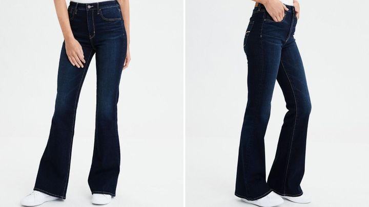"<a href=""https://fave.co/2lSxSEa"" target=""_blank"" rel=""noopener noreferrer"">AE's Highest Waist Flare Jeans</a> are incredibly size inclusive, offered in sizes 00 to 24 in short and long lengths."
