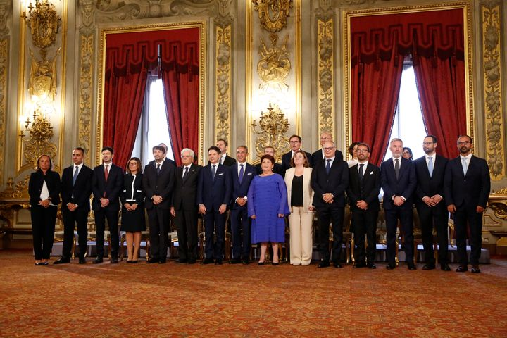 Teresa Bellanova stood out from her fellow Italian politicians in a vivid blue dress at the oath of office for members of Italy's Cabinet in Rome on Sept. 5.