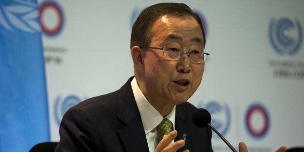 Le secrétaire général de l'ONU, Ban Ki-moon fait une déclaration lors de la conférence internationale...