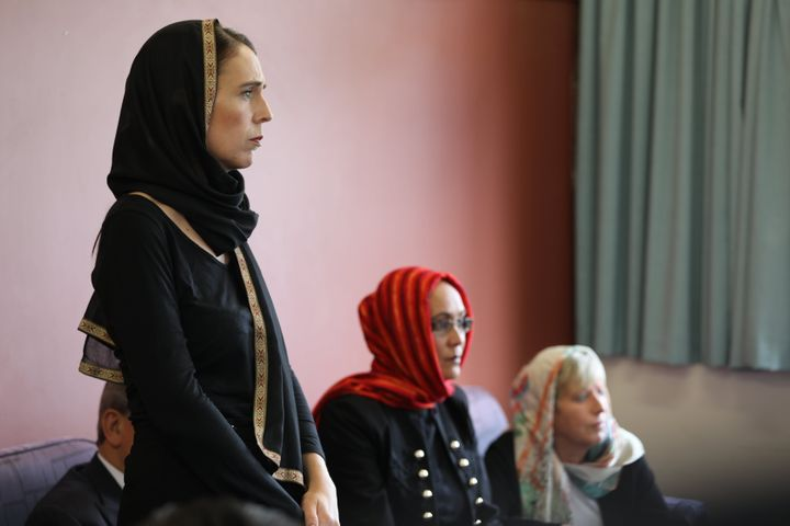 Ardern meets with Muslim community representatives on March 16, 2019, in the wake of the massacres at the mosques.
