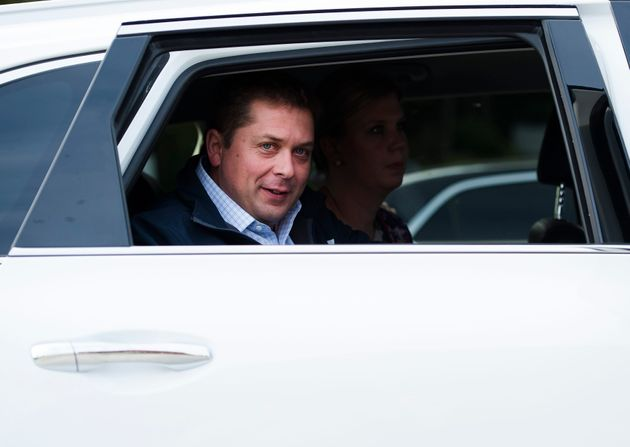 Federal Conservative Leader Andrew Scheer arrives in a car before making a campaign stop in Quebec City...