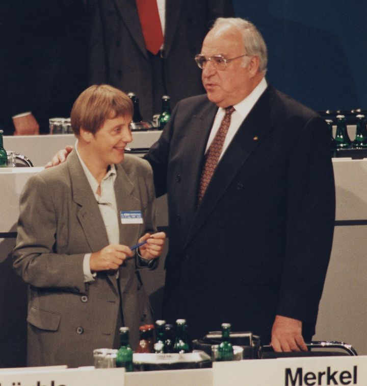 Merkel with then-Chancellor Helmut Kohl in 1993.