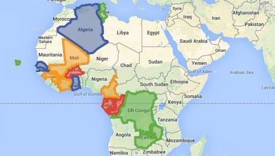 La Google Map des 4 groupes de la CAN