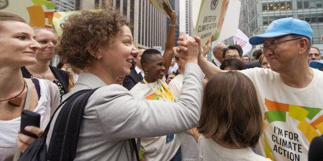 Ban Ki-Moon à la marche pour le climat, dimanche, à New