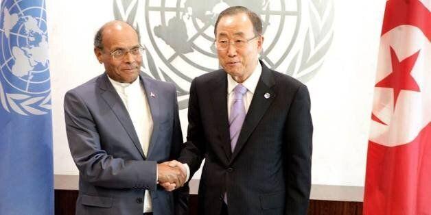 Le Président tunisien Moncef Marzouki et le SG de l'ONU Ban Ki-Moon à