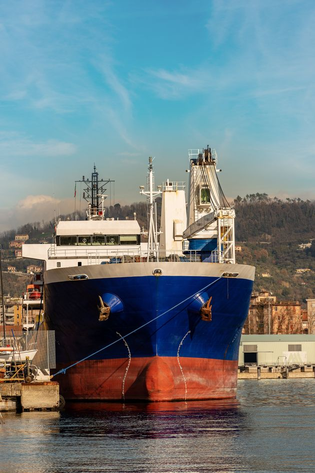 Large ship seen from the front in the port. Gulf of La Spezia, Liguria, Italy,