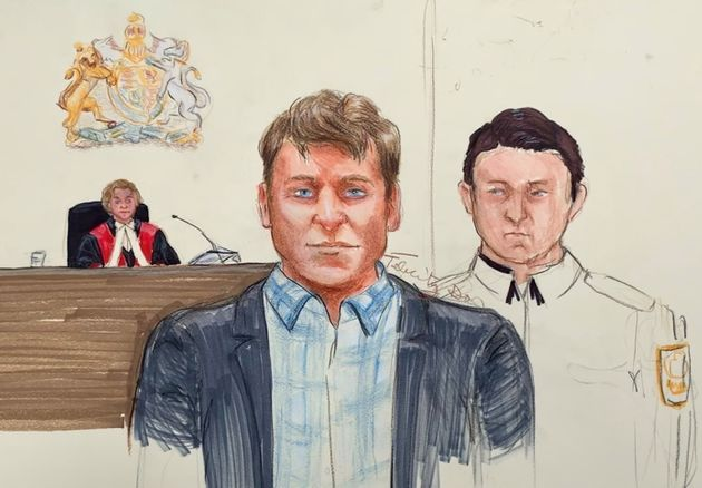 Andrew Berry, centre, appears in B.C. Supreme Court in Vancouver on April 16,