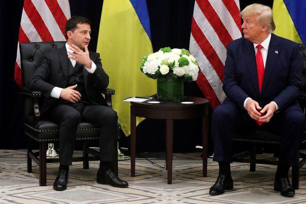 Ukraine's President Volodymyr Zelenskiy speaks as he and U.S. President Donald Trump hold a bilateral...