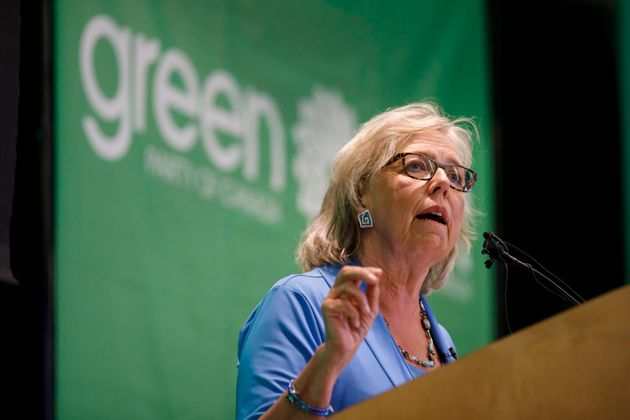Green Party of Canada leader Elizabeth May speaks in Toronto prior to a fireside chat about the climate...