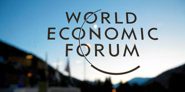 DAVOS/SWITZERLAND, 23JAN11 - The WEF logo is seen on a window at the congress center during preparations...