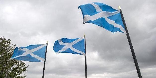 Des drapeaux écossais flottent au-dessus du fleuve Tweed, à Coldstream, à la frontière entre l'Ecosse...