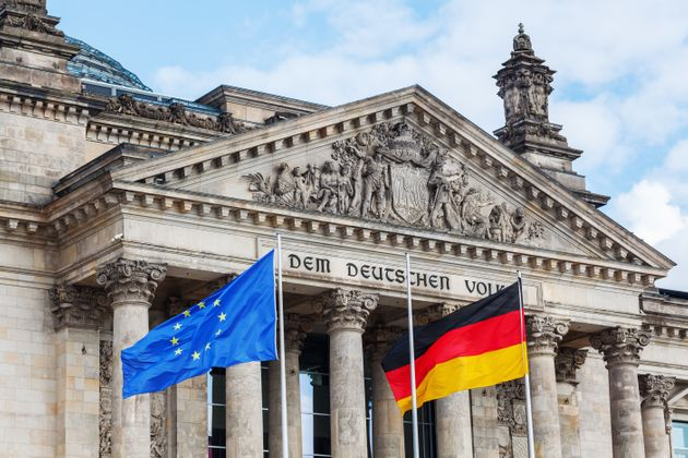 German Reichstag in Berlin, Germany, with national