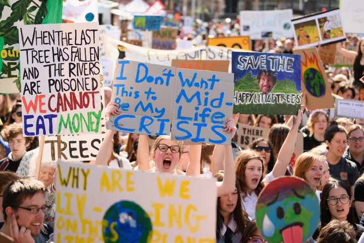 Students at climate rallies in Chistchurch New Zealand.