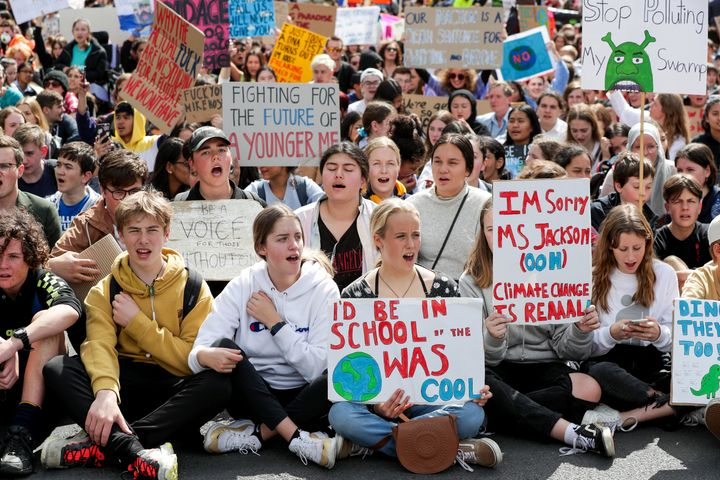 Climate change supporters in Auckland, New Zealand.