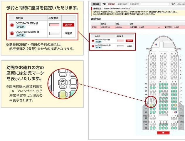 JALのウェブサイトに書かれている、幼児マークの説明