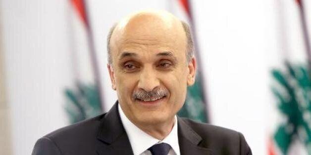 Photo distribuée par le service de presse de Samir Geagea montrant le prétendant à la présidence libanaise,...