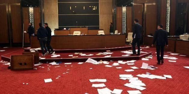 Les locaux du Congrès général national à Tripoli, en Libye, le 3 mars 2014 après l'entrée en force de...