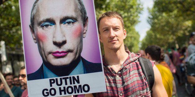 Une manifestation contre l'homophobie en août 2013 à
