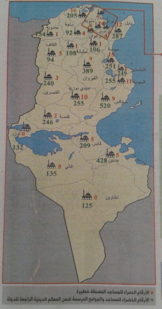 Tunisie: Une carte des mosquées sous contrôle des radicaux,