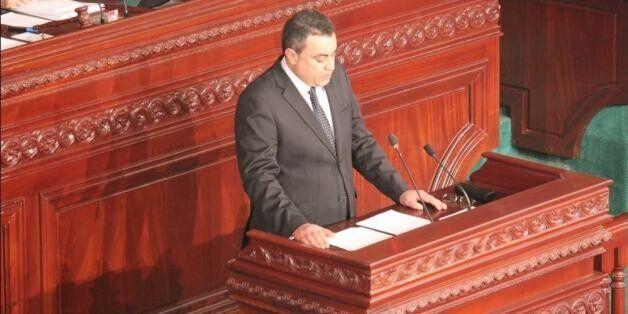 Mehdi Jomaa avant le vote de confiance à l'Assemblée nationale constituante, le 28 janvier