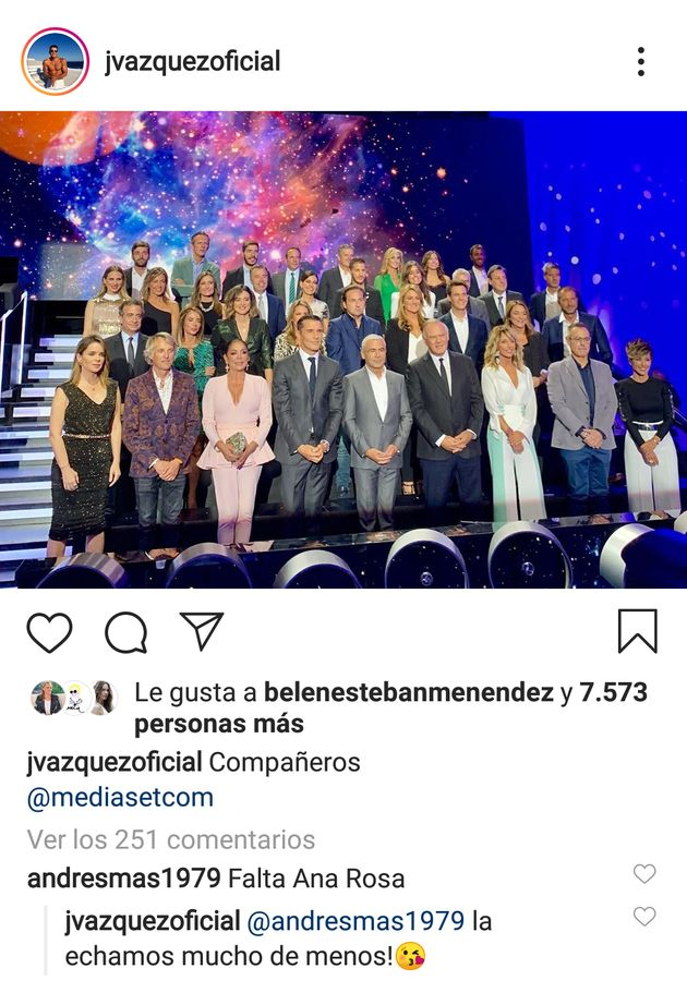 Jesús Vázquez responde a la pregunta más repetida en esta foto de familia de