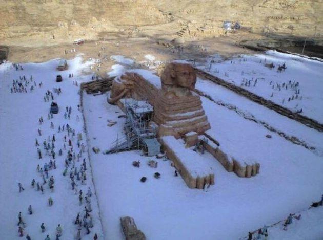 Les photos de sites archéologiques égyptiens sous la neige qui tournent sur le Net sont fausses. La