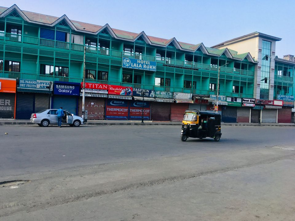 Lal Chowk, the main market in Srinagar, the summer capital of Jammu and Kashmir, was empty on the afternoon...