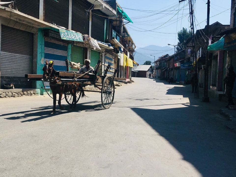 The main market place in Tral, located in south Kashmir, was empty on the afternoon of 19th