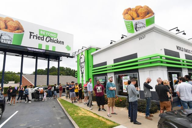 IMAGE DISTRIBUTED FOR BEYOND MEAT- Consumers stand in line at an Atlanta-based KFC throughout the day...