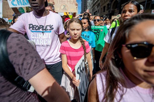 Activist Greta Thunberg is seen here leading the youth climate strike in New York City on Sept. 20,