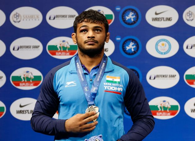 Silver medalist Deepak Punia during a medal ceremony at the men's 86kg category during the Wrestling...