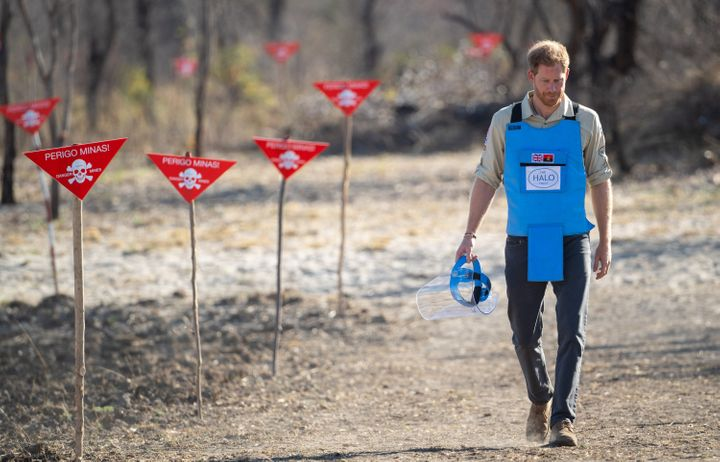 The Duke of Sussex visits a minefield in Dirico, Angola, to see the work of landmine clearance charity the Halo Trust, on Day