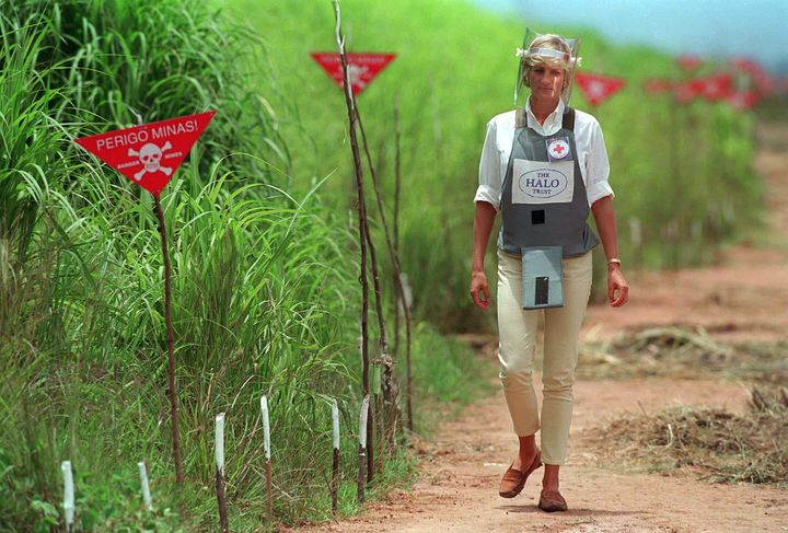 Diana, Princess Of Wales, visits a minefield being cleared by the charity Halo in Huambo, Angola.
