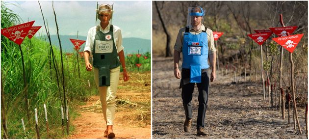 Left: Princess Diana walking in a safety corridor of a land mine field in Huambo, Angola, on Jan. 15,...