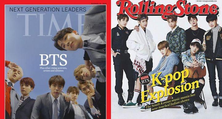 Portadas de la revista 'Time' de Octubre de 2018 y de 'Rolling Stone' en septiembre de 2017.