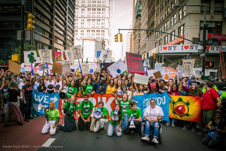 Climate strikers in New York City on September 20, 2019. They are demanding world leaders take meaningful steps to address the climate crisis, including by transitioning away from fossil fuels.
