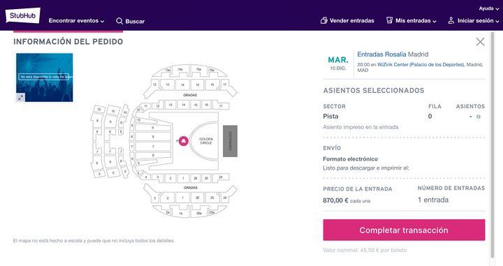 Compra de entrada del concierto de Rosalía en StubHub.