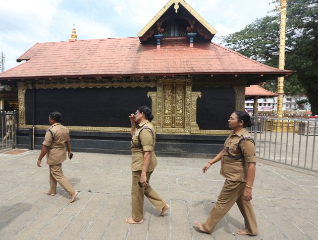 Policewomen at the Sabarimala temple in November