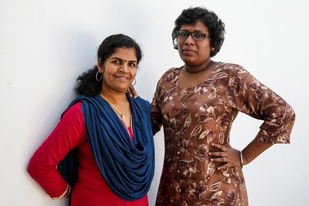A file photo of Kanakadurga (left) and Bindu Ammini, the first women to enter Sabarimala temple after...