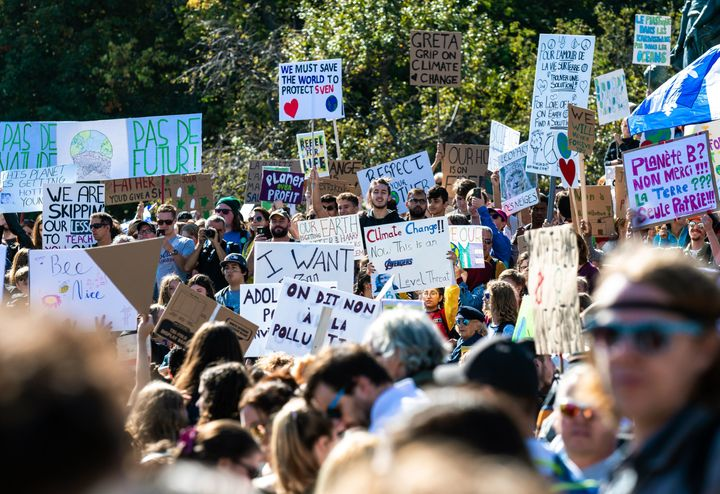 Protesters fill the the streets of Montreal during the global climate strike on Sept. 27 2019.