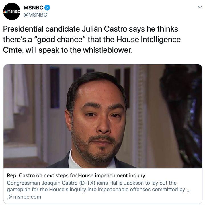MSNBC confuses Joaquin Castro with Julián Castro