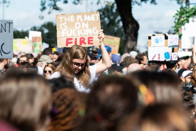 Protesters crowd the streets in Montreal to demand action on climate change on Sept. 27,