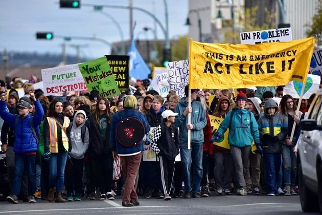 More than 1,000 people showed up for a climate strike in Yellowknife on Sept. 27, 2019, organizer Kyle...