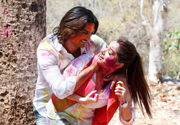 MUMBAI, INDIA - MARCH 4: Bollywood actors Sushant Singh Rajput and Ankita Lokhande exclusive photo shoot for Holi special during an interview share their Holi plans and relationship secrets with HT Cafe/Hindustan Times, on March 4, 2015 in Mumbai, India. (Photo by Vidya Subramanian/Hindustan Times via Getty Images)