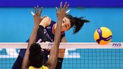 한국 여자배구가 강호 브라질을 꺾고 3연승을