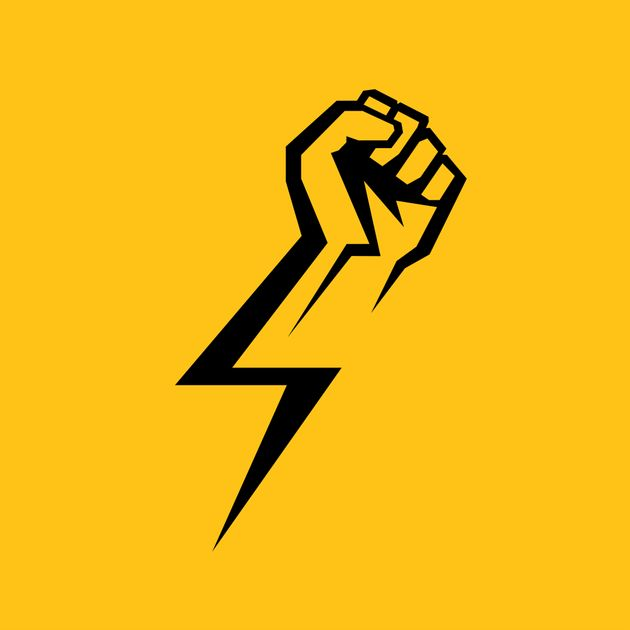 Fist male hand, proletarian protest symbol. Power