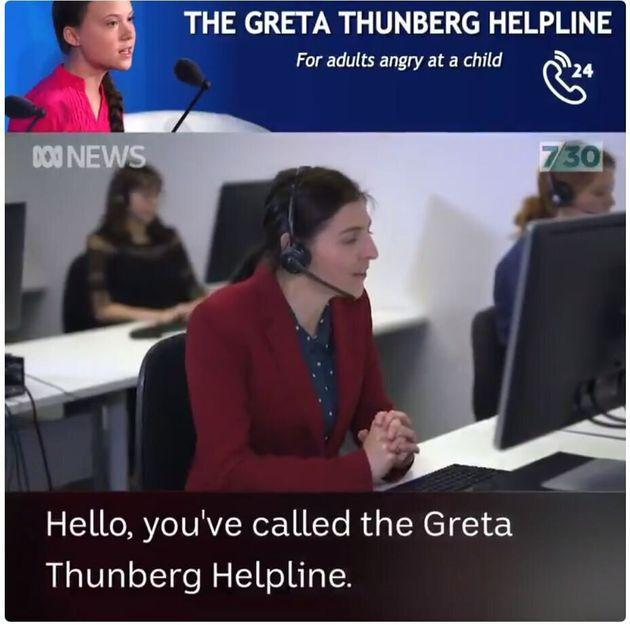 ABCテレビが作った風刺動画「グレタ・トゥーンベリ・コールセンター」